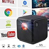XPRIT Camping Portable Smart Cube Projector with Wi-Fi & Bluetooth, 50 ANSI, Android 7.1, Remote Control Included