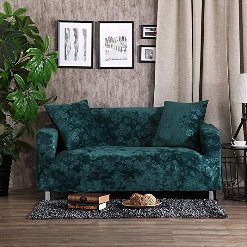 A'GRJESFD Velvet Fabric Emboss Embroidery Sofa Cover Luxury Slipcovers Universal Stretch Big Elastic Seat Couch Covers Love-Seat Furniture Green 3 Seater 185-230Cm (Camelback Cover Sofa)