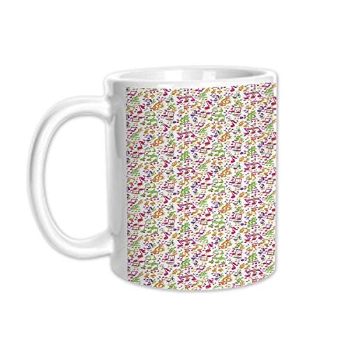 (Music Stylish White Printed Mug,Inspirational Sound Vibes Theme Sonic Rhythm Melody Cheerful Musical Notes Print for Living Room Bedroom,3.1
