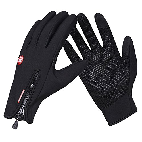 BEoffer Touch Screen Gloves Waterproof Cycling Golves with Grip and Zip Thick Warm Winter Gloves perfect for Outdoor Sports Windproof Coldproof Black Leather Gloves for Men Women Girls Boys