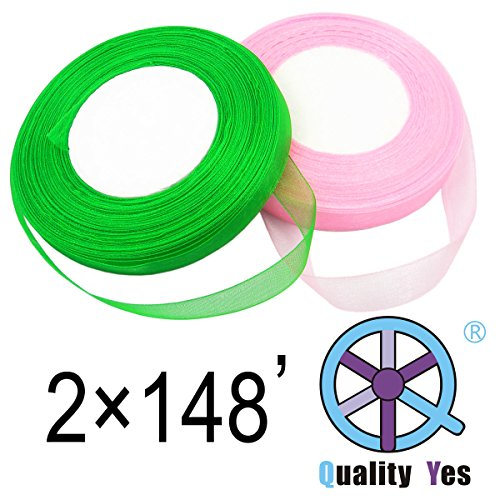 QY 2 Roll 1/2 Inch Wide by 50-Yard Monofilament Edge Simply Sheer Ribbon See Through Silk Ribbon for DIY Craft, Green and Pink