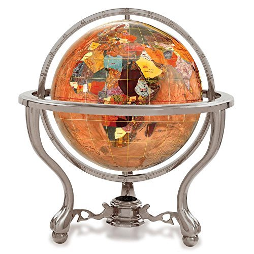KALIFANO 4 Gemstone Globe w/ Copper Amber Opalite Ocean & Silver Commander 3-Leg Table Stand by Alexander Kalifano