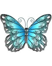 Tfro & Cile Metal Outdoor Butterfly Wall Decor Glass Hanging Garden Art Insect Decoration for Bedroom Home