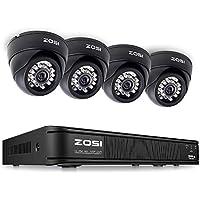 ZOSI AHD CCTV System, AHD DVR Recorder with 4 PCS AHD 720P(1280TVL) Indoor Dome Cameras