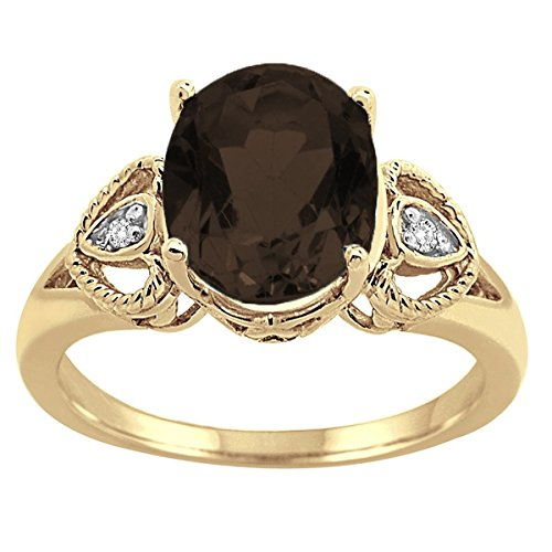 (Oval Smokey Quartz and Diamond Ring in 10K Yellow Gold)
