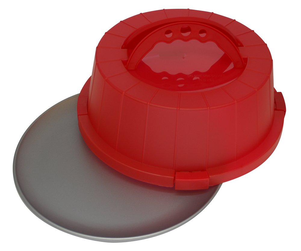 OvenStuff Non-Stick Cake and Pastry Carrier with Matching Scralet Red Cover and Handles
