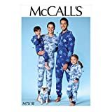 MCCALLS M7518 Men's/Misses'/Boys'/Girls'/Children's Hooded Jumpsuits and Dog Coat with Kangaroo Pocket (SIZE ADULT S-XLG) SEWING PATTERN