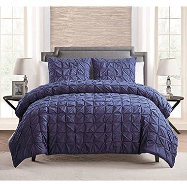 100% COTTON 3 - Piece Solid NAVY BLUE Pinch Pleat Duvet Cover Set FULL / QUEEN Size Bedding