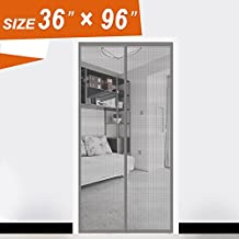 Fiberglass Screen Door, French Door Screen Magnetic Mosquito Curtain Heavy Duty Mesh Fit Your Door Size 34W X 95H Inch with Full Frame Velcro (36 X 96 Inch, Gray)