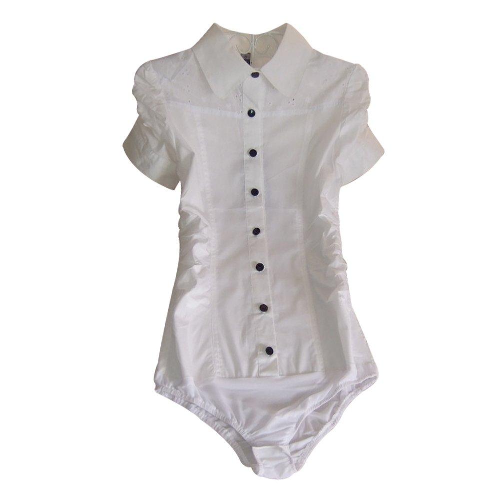 Activewear ZAMME Womens Slim OL Bodysuit Tops Blouse Button Down Classic Shirts
