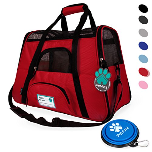 PetAmi Premium Airline Approved Soft-Sided Pet Travel Carrier by Ventilated, Comfortable Design with Safety Features | Ideal for Small to Medium Sized Cats, Dogs, and Pets (Small, Red)