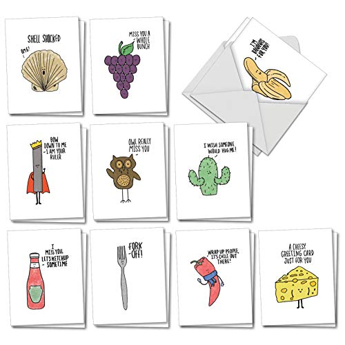 Fun Puns - 20 Fun Blank Note Cards with Envelopes (4 x 5.12 Inch) - Boxed Assortment of All-Occasion Funny Pun Cards - Humorous Greeting Notecard Set (2 Each, 10 Designs) AM2975OCB-B2x10 ()