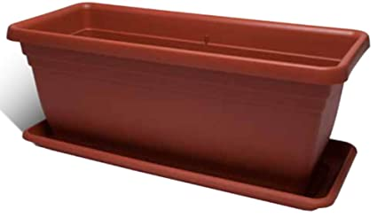 Fioriere Di Plastica Costi.Vaso Fioriera In Plastica Ics Colore Terracotta 60x30 Amazon It