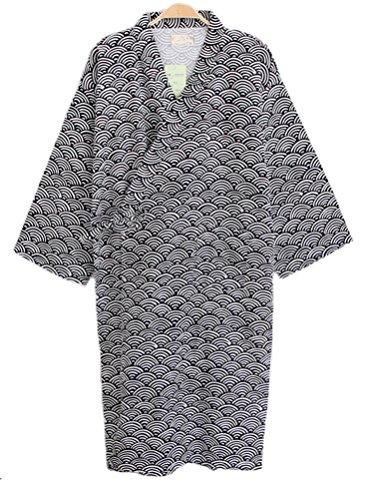 Soojun Men/Women Japanese Kimono Robe Cotton Pajamas, Style 4 Black, Men US Medium(Tag L) ()