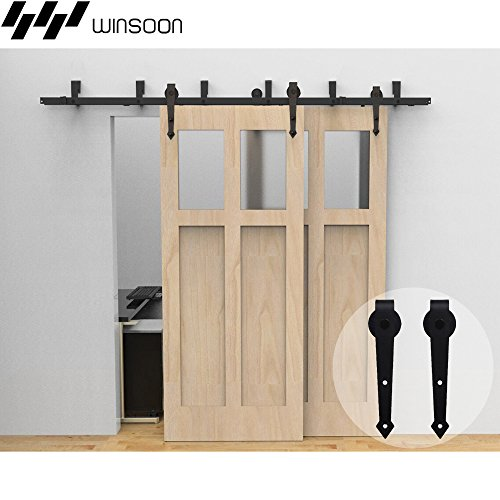 (WINSOON 5/6/8/10/12/16FT Low Profile Bypass Double Door Sliding Barn Door Hardware KIt for Indoor Exterior, Arrow Shape Hangers (15FT/New Bypass Kit))