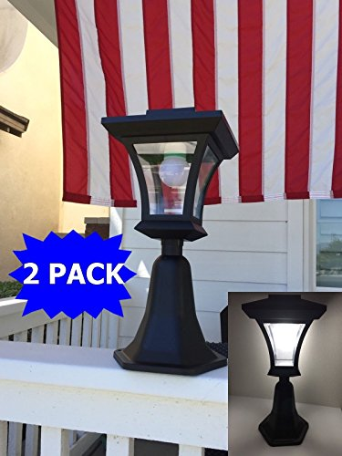 - 2 Pack Outdoor LED Solar Powered Fence Gate Post Mount Light Garden Courtyard Solar Lamp Lighting