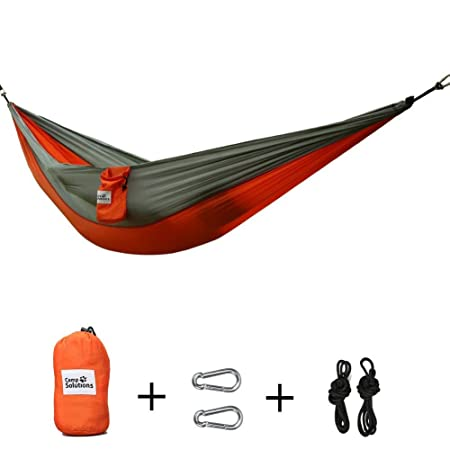 Camp Solutions Double Hammock Outdoor Parachute Hammock Bed with Carabiners, Special Heavy Duty Tree Hammock Straps for Backpacking, Camping, Beach, Hiking, 118 L x 79 W