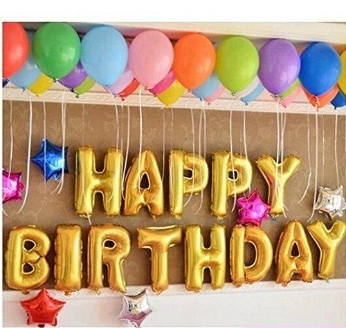 Las letras del alfabeto de oro Happy Birthday Party Decoración Globos de Aluminio