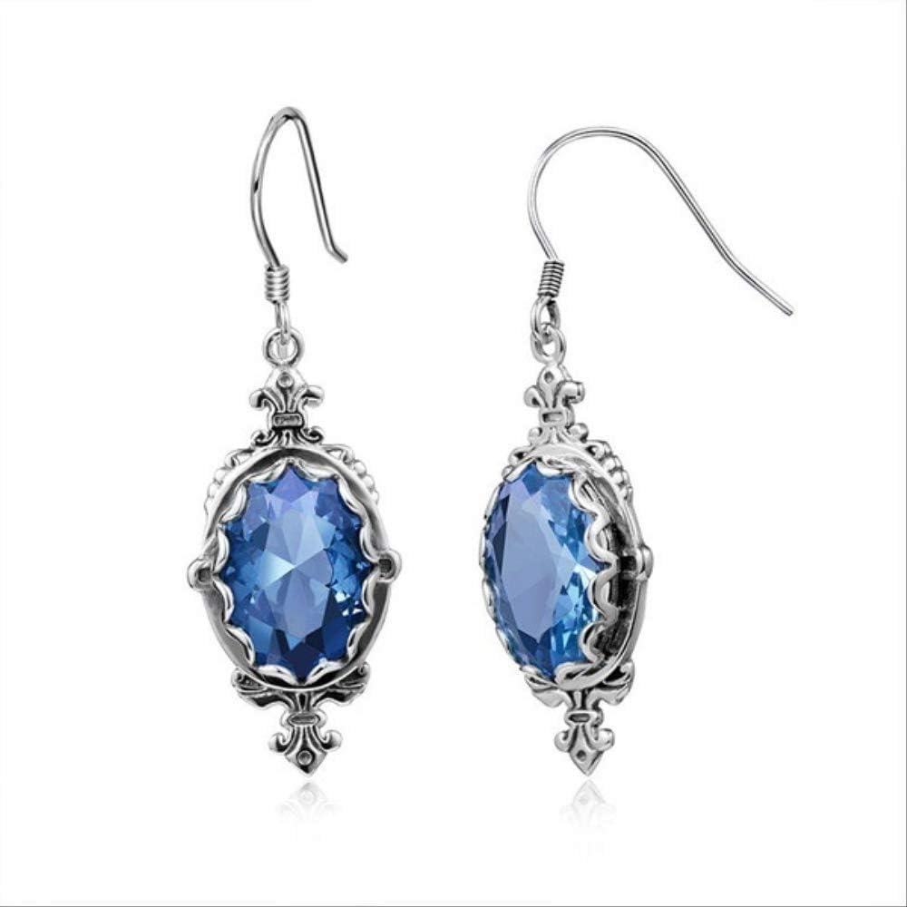 WTPUNGB 925 Pendientes De Zafiro Azul De Topacio Plateado Pendientes Colgantes De Plata Joyas Mujer Piedras Preciosas 925