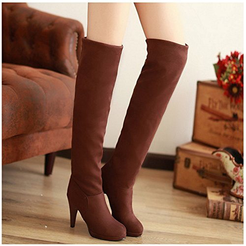 Boots Over Shoes Winter Autumn Knee Classical Stiletto TAOFFEN Platform Women Brown pw0A6zqz