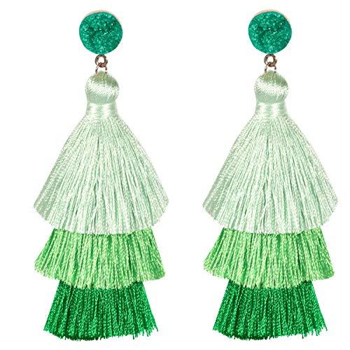 Tassel Earrings for Womens Girls Fashion Colorful Layered Bohemian Dangle Drop Tiered Tassel Druzy Stud Earrings Holiday Gifts