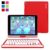"""iPad Air and New iPad 2017 9.7"""" Keyboard, Snugg [Red] Wireless Bluetooth Keyboard Case Cover 360° degree Rotatable Keyboard for Apple iPad Air and New iPad 2017 9.7"""""""
