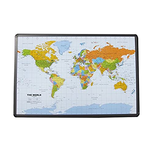 Corkboard world map amazon political world map on cork pinboard 24 x 36 with aluminum frame gumiabroncs Images