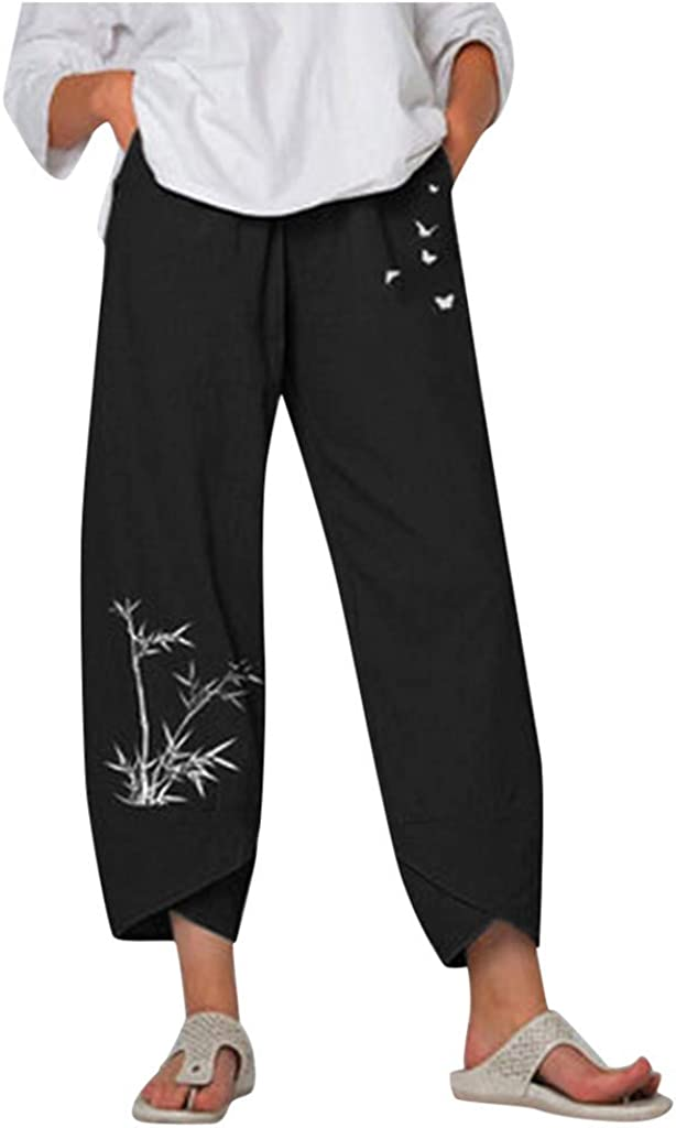TIANMI Women Casual Daisy Print Embroidery Cotton Linen Elastic Waist Wide Leg Pants