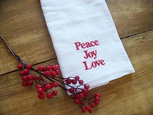 Peace Joy Love Embroidered Tea Towel Handmade Amazon Com