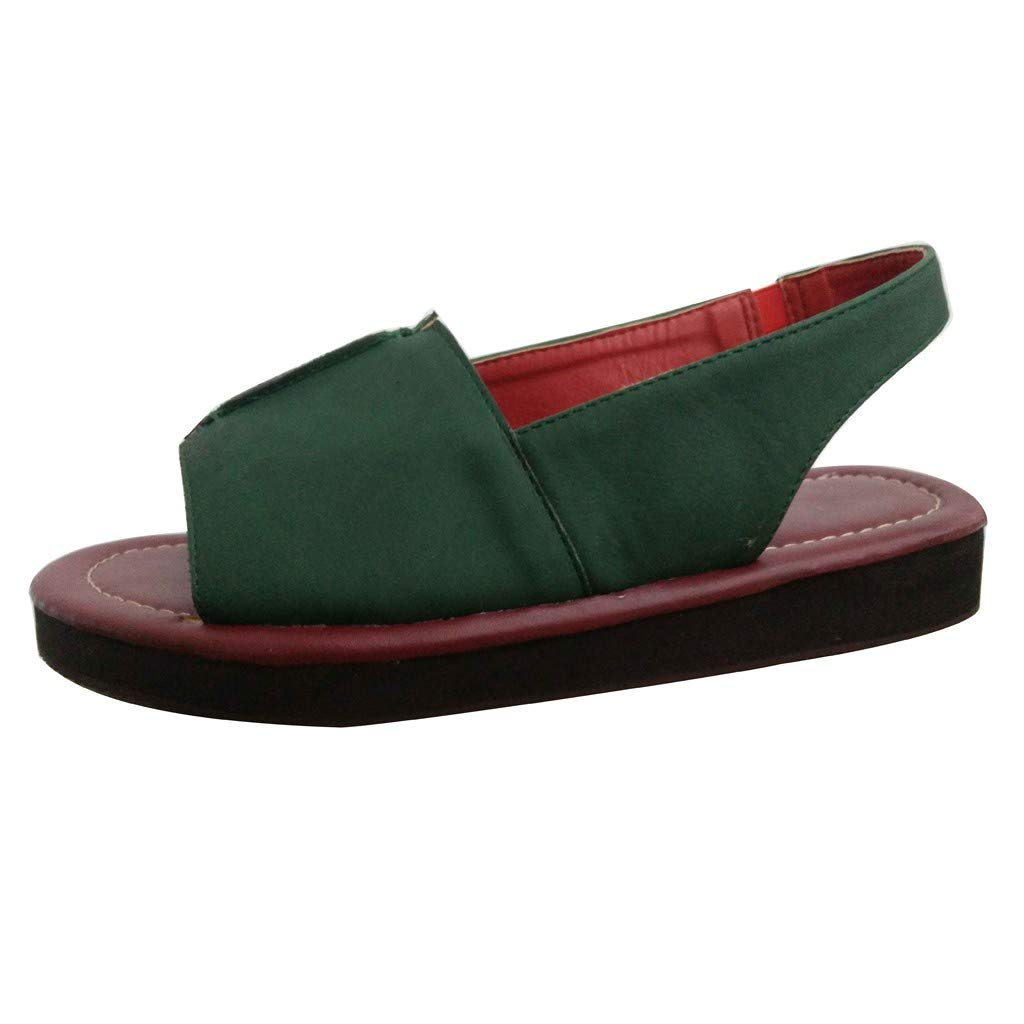 Nadition Vintage Sandals ❤️️ Women Summer Flat Bottom Beach Shoes Handmade Cloth Sandals Shoes Ankle Sandals Green