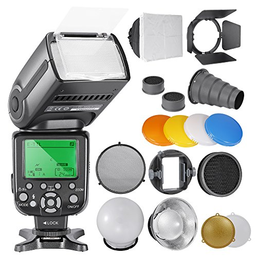 Neewe NW565EX E-TTL Slave Speedlite Kit for Canon Cameras, includes: (1)NW-565C Flash, Accessories Kit Barndoor, Snoot, Honeycomb, Reflector, Diffuser Ball, Color Gel, Softbox, Mount (Flash Barndoor)