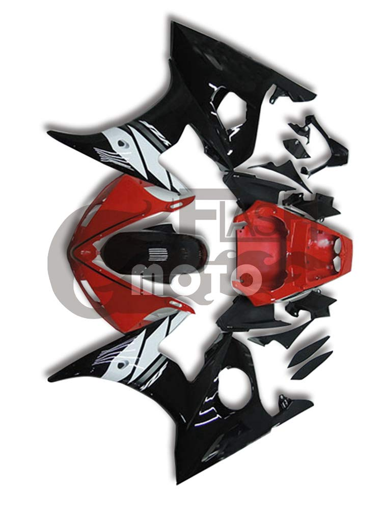 FlashMoto yamaha ヤマハ YZF-600 R6 2003 2004用フェアリング 塗装済 オートバイ用射出成型ABS樹脂ボディワークのフェアリングキットセット (レッド,ブラック)   B07LF2GQ3H
