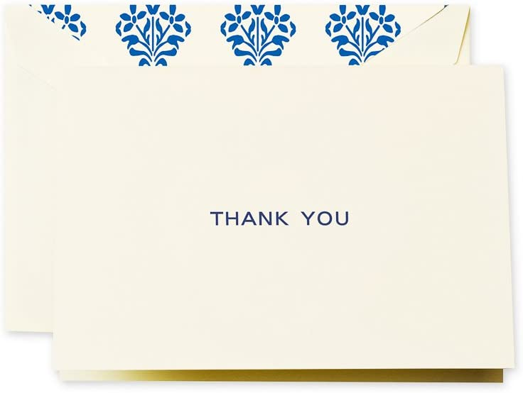Crane /& Co Navy Block Text Thank You Note CT1406