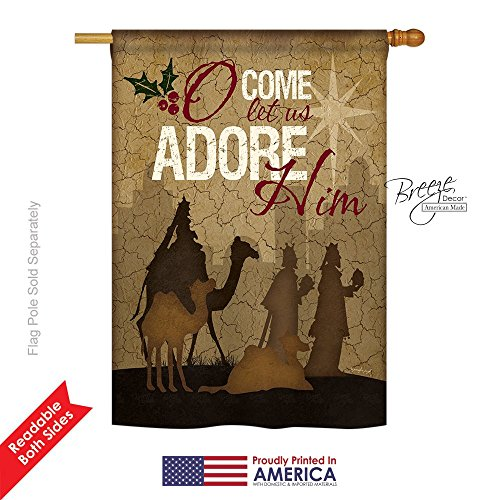 """Breeze Decor H114111 Let Us Adore Him Winter Nativity Decorative Vertical House Flag, 28"""" x 40"""", Multicolor -  BD-NT-H-114111-IP-BO-DS02-US"""