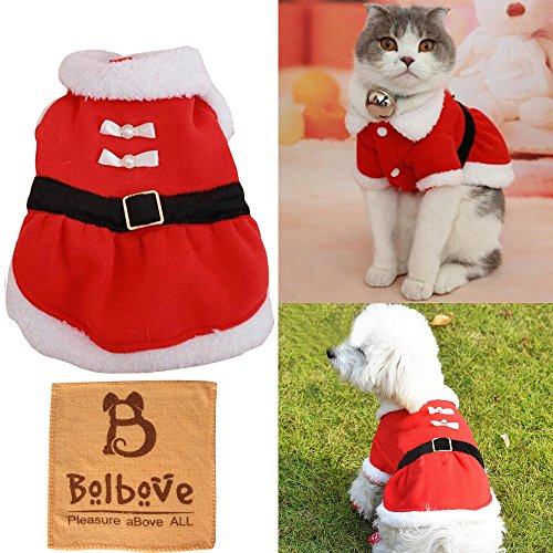 [Bolbove Pet Christmas Santa Claus Dress Costume for Small Girl Dogs & Female Cats Winter Coat Warm Clothes (Red,] (Unique Santa Costumes)