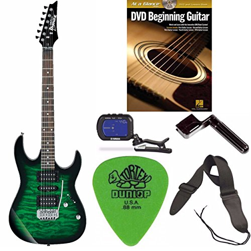 Art Wood Series Acoustic Guitar - Ibanez GRX70QA GIO RX Series Electric Guitar Transparent Green Burst Kit 1