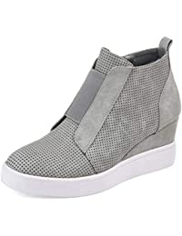 Wedge Sneakers for Women Fashion High Top Hidden Heel Shoes Casual Side Zipper Platform Ankle Boots