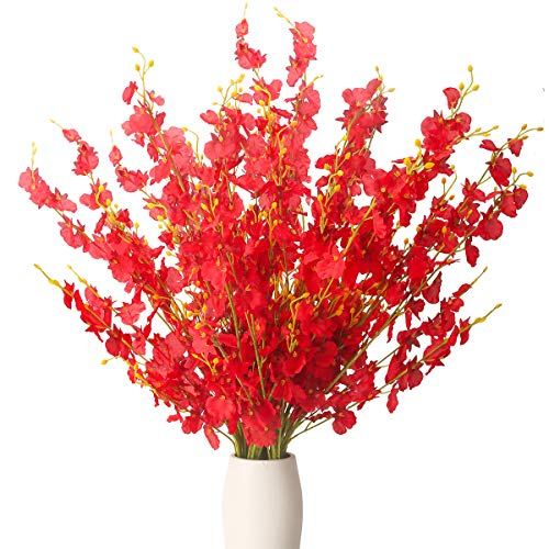 BOMAROLAN Artificial Orchid Silk Fake Flowers Faux Dancing Lady Orchids Stems Flower 10 Pcs Real Touch for Wedding Home Office Party Hotel Yard Decoration Restaurant Patio Festive Furnishing(Red) (Silk Red Orchids)