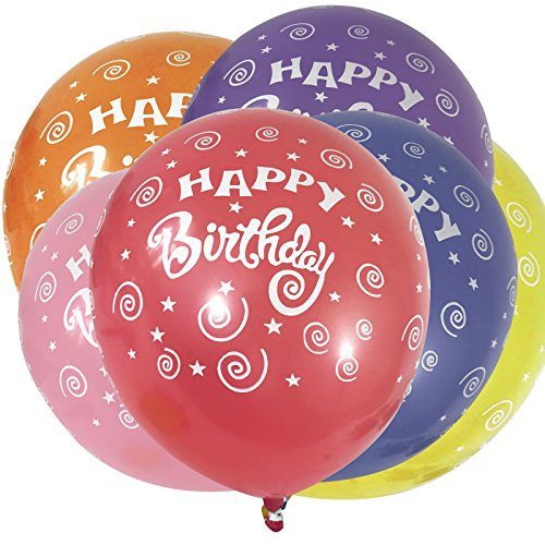 Birthday Printed Latex Balloons (Allgala 100 count 12