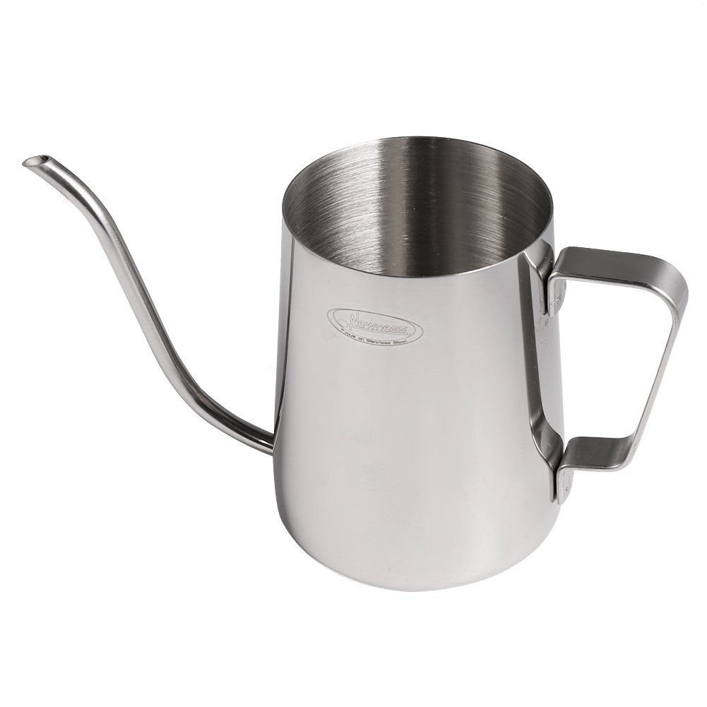 Long Narrow Spout Coffee Pot [Small] - Newness 304 Stainless Steel Hanging Ear Hand Blunt Pour Over Drip Pot for Coffee Maker, Hanging Ear Coffee Bag Lover, 1.37 Cup (11 Ounces, 330 Milliliter) by Newness Focus On Stainless Steel