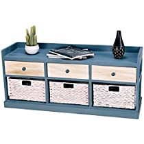 BESTChoiceForYou Table Storage Chest Cabinet W Wood Drawers And Baskets Home Side Furniture Elegant Organizer