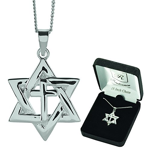 Of Star Charm Elegant David (Star Of David With Cross Center Sterling Silver 18-Inch Pendant Necklace)