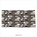 Vipsung Microfiber Ultra Soft Bath Towel Taupe Grunge Circles Dots Brushstrokes Hand Painted Modern Design Messy Artistical Black White Taupe For Hotel Spa Beach Pool Bath