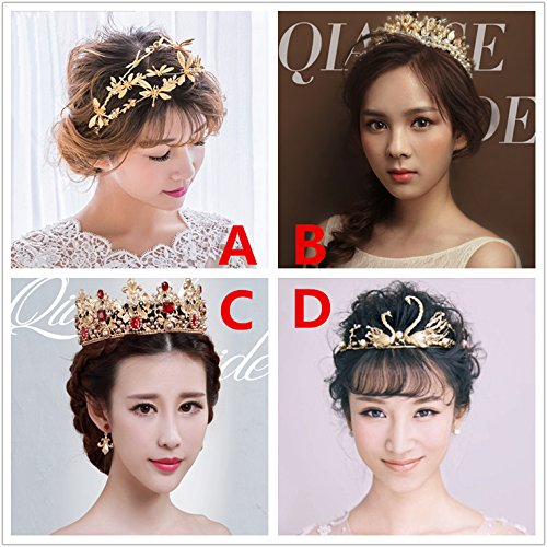 Generic crown tiara tiara Bridal Hair Accessories crown tiara tiara Headband shell headdress ornaments handmade high-end wedding married yarn Accessories ()
