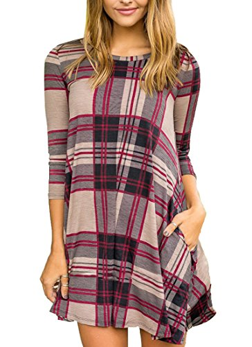 Boloren Womens Plaid Shirt Mini Dress With Pocket Long Short Sleeve Round Neck Casual Loose Long Stripe Top,Beige,Large