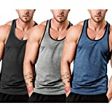 COOFANDY Men's 3 Pack Quick Dry Sports Tank Tops Workout Muscle Tee...