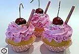 Dezicakes Strawberry Milkshake Cupcakes Set of 3- Faux Fake Cupcakes Decoration