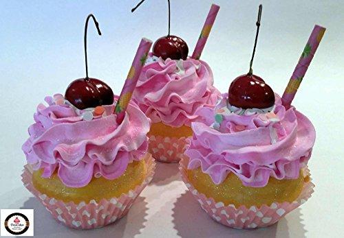 Dezicakes Strawberry Milkshake Cupcakes Set of 3- Faux Fake Cupcakes Decoration by Dezicakes