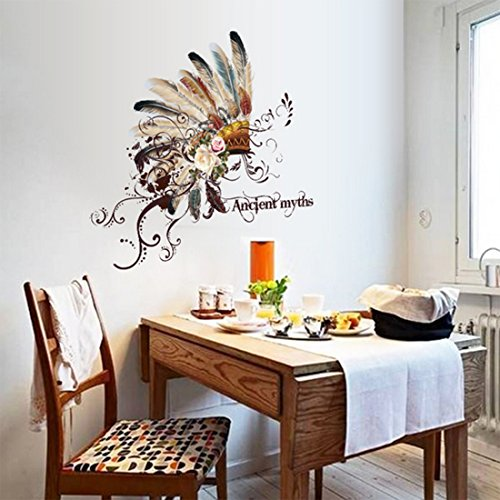 Native American Indian Chief And Flower Vinyl Sticker Wall Design Modern Bedroom Wall Decor Mural Indian Home Decor Olivia Decor Decor For Your Home And Office