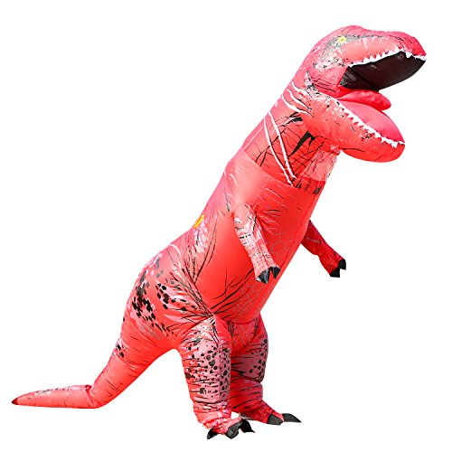 T-Rex Dinosaur Inflatable Costume for Unisex Adults Teens Blowup Fancy Outfit Red (Red Dinosaur Costume)